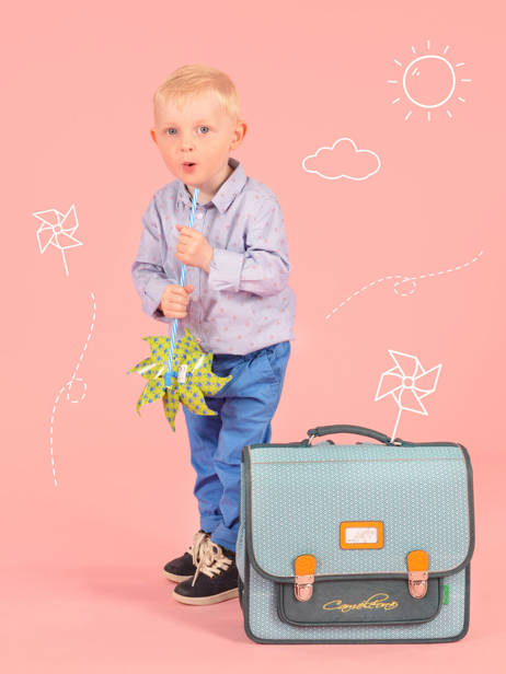 Satchel For Kids 2 Compartments Cameleon Blue retro RET-CA35 other view 3