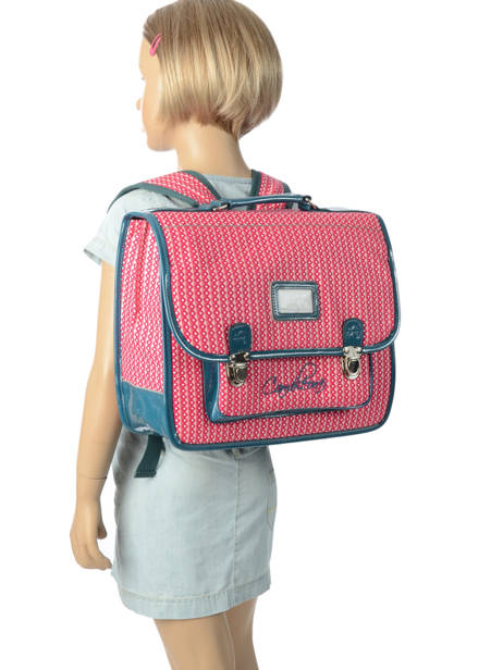 Satchel For Kids 2 Compartments Cameleon Pink retro vinyl REV-CA35 other view 3