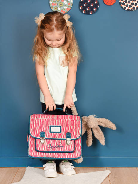 Satchel For Kids 2 Compartments Cameleon Pink retro vinyl REV-CA35 other view 4