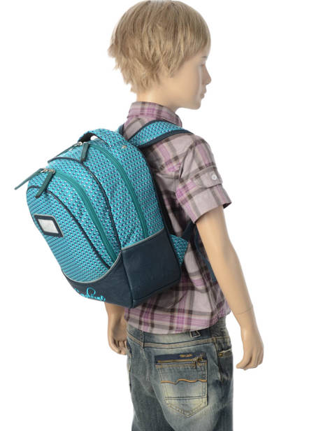 Backpack For Kids 2 Compartments Cameleon Blue retro RET-PRI other view 2