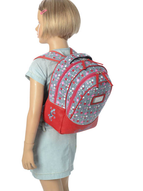 Backpack For Kids 2 Compartments Cameleon Red retro RET-PRI other view 1
