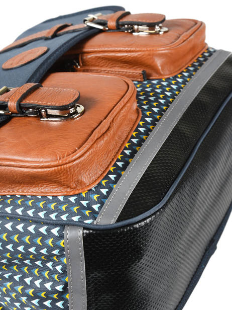 Satchel For Boys 2 Compartments Cameleon Black vintage print boy VIB-CA38 other view 1