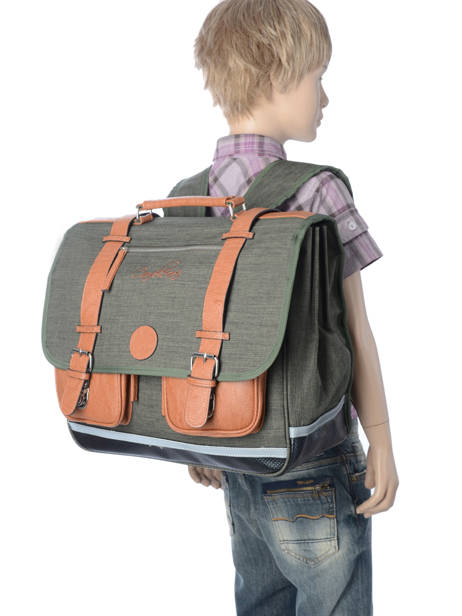 Satchel For Kids 3 Compartments Cameleon Green vintage chine VIN-CA41 other view 2