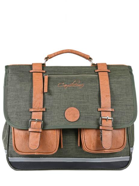 Satchel For Kids 3 Compartments Cameleon Green vintage chine VIN-CA41