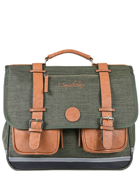 Satchel 3 Compartments Cameleon Green vintage chine VIN-CA41