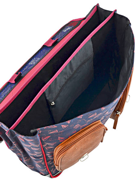 Satchel For Boys 3 Compartments Cameleon Blue vintage print boy VIB-CA41 other view 5