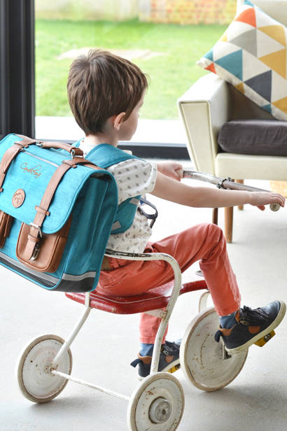 Satchel For Boys 3 Compartments Cameleon Blue vintage print boy VIB-CA41 other view 6