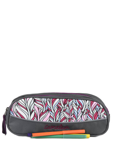 Pencil Case For Kids 2 Compartments Cameleon Gray basic BAS-TROU other view 1