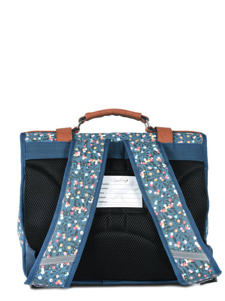 Satchel For Girl 2 Compartments Cameleon Blue vintage print girl VIG-CA38 other view 4
