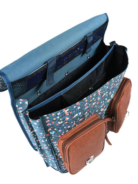 Cartable à Roulettes Fille 2 Compartiments Cameleon Bleu vintage print girl VIG-CR38 vue secondaire 6