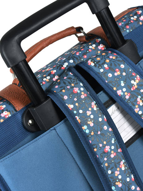 Wheeled Schoolbag For Girls 2 Compartments Cameleon Blue vintage print girl VIG-CR38 other view 2