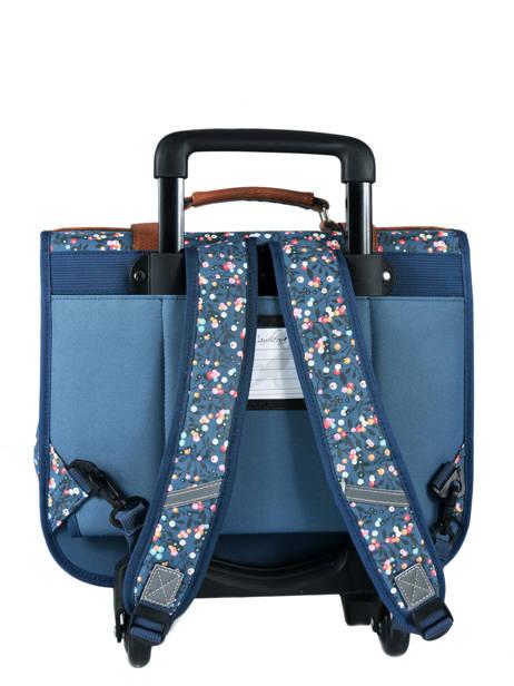 Cartable à Roulettes Fille 2 Compartiments Cameleon Bleu vintage print girl VIG-CR38 vue secondaire 5