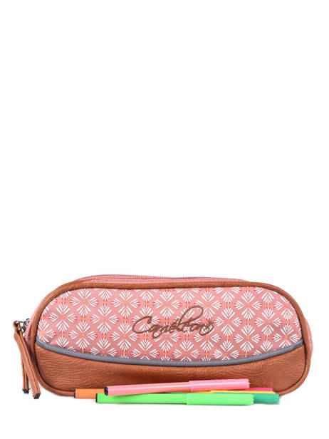 Pencil Case For Girls 2 Compartments Cameleon Pink vintage print girl VIG-TROU other view 1