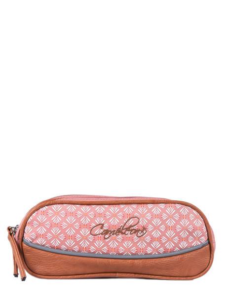 Pencil Case For Girls 2 Compartments Cameleon Pink vintage print girl VIG-TROU
