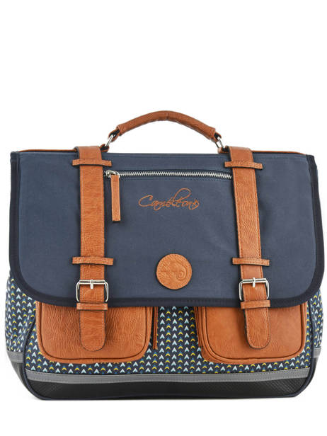 Satchel 3 Compartments Cameleon Blue vintage print boy VIB-CA41