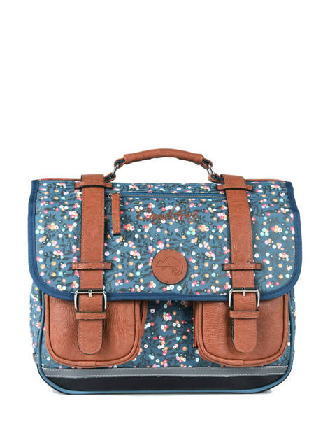 Satchel For Girl 2 Compartments Cameleon Blue vintage print girl VIG-CA38