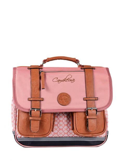 Satchel 2 Compartments Cameleon Pink vintage print girl VIG-CA38