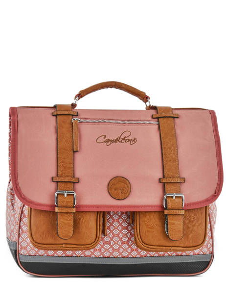 Satchel 3 Compartments Cameleon Pink vintage print girl VIG-CA41