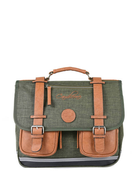 Satchel For Kids 2 Compartments Cameleon Green vintage chine VIN-CA35