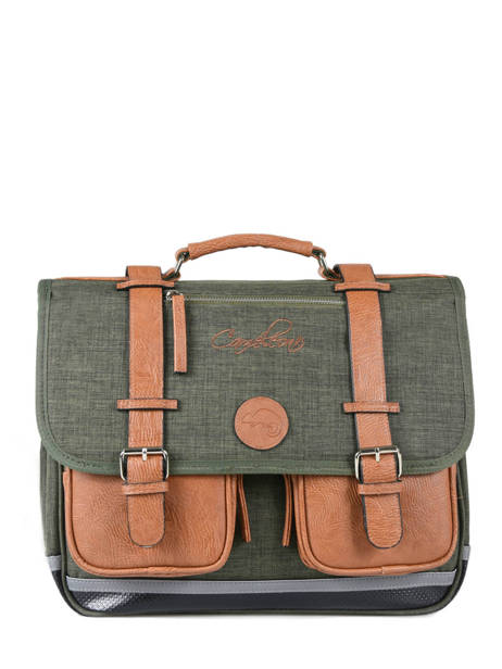 Satchel For Kids 2 Compartments Cameleon Green vintage chine VIN-CA38