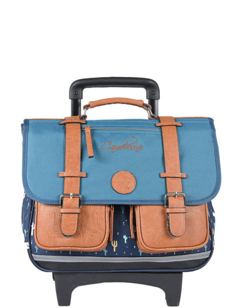 Wheeled Schoolbag For Boys 2 Compartments Cameleon Blue vintage print boy VIB-CR38