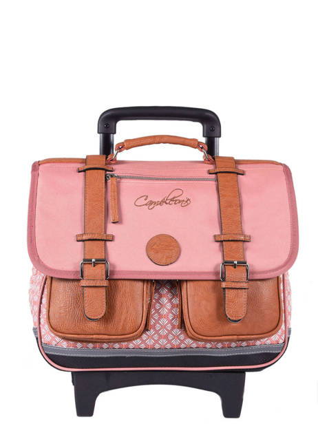 Wheeled Schoolbag For Girls 2 Compartments Cameleon Pink vintage print girl VIG-CR38