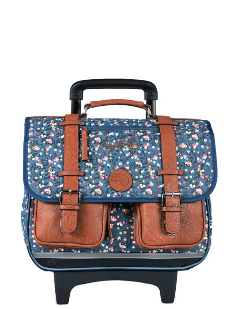 Cartable à Roulettes Fille 2 Compartiments Cameleon Bleu vintage print girl VIG-CR38