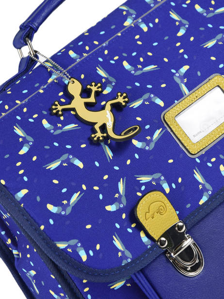 Satchel For Kids 2 Compartments Cameleon Blue retro RET-CA35 other view 1