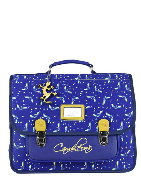 Cartable Enfant 2 Compartiments Cameleon Bleu retro RET-CA38