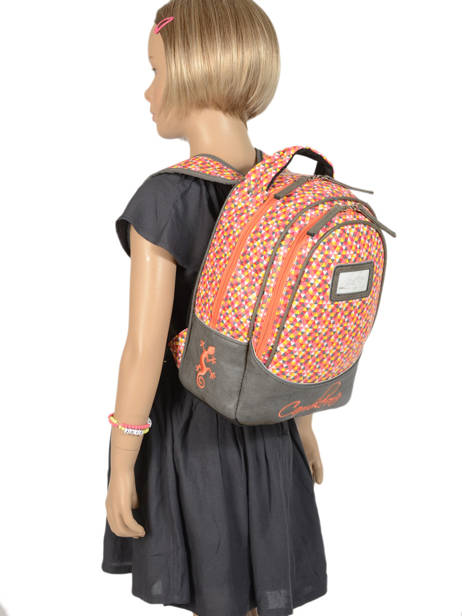 Backpack For Kids 2 Compartments Cameleon Gray retro RET-SD31 other view 2