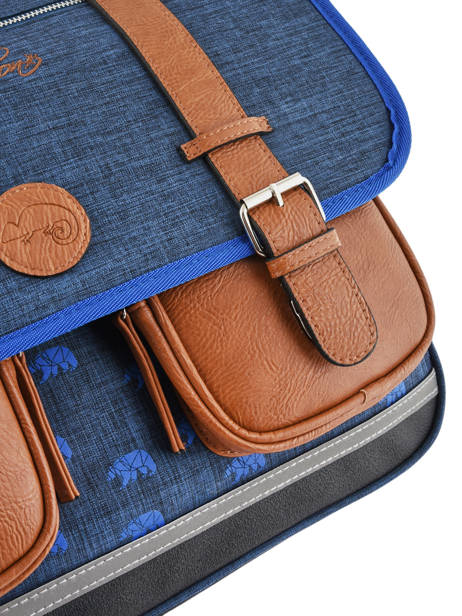Satchel For Boys 3 Compartments Cameleon Blue vintage print boy VIB-CA41 other view 1