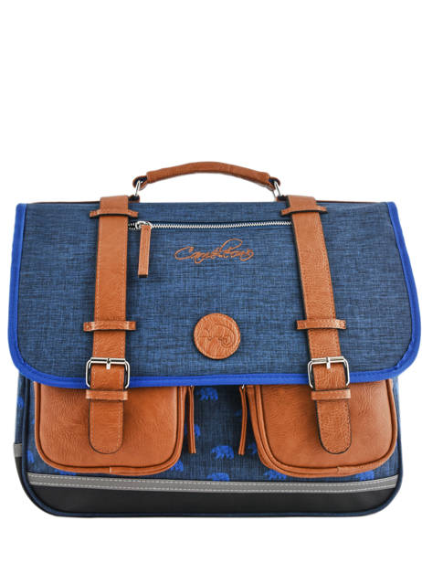 Satchel For Boys 3 Compartments Cameleon Blue vintage print boy VIB-CA41