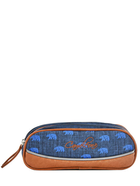 Pencil Case For Boy 2 Compartments Cameleon Blue vintage print boy VIB-TROU