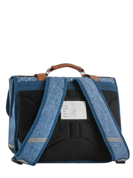 Satchel For Girl 2 Compartments Cameleon Blue vintage print girl VIG-CA38 other view 5
