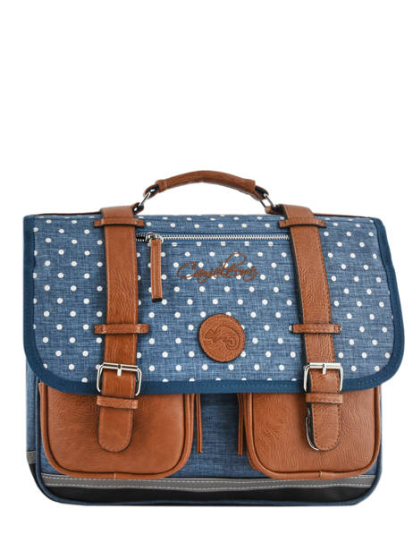 Satchel For Girl 2 Compartments Cameleon Blue vintage print girl VIG-CA38