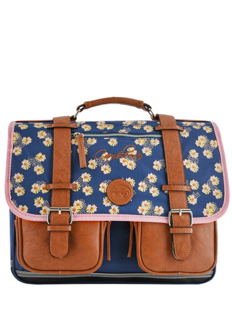 Cartable Fille 2 Compartiments Cameleon Bleu vintage print girl VIG-CA38
