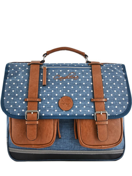 Satchel For Girls 3 Compartments Cameleon Blue vintage print girl VIG-CA41
