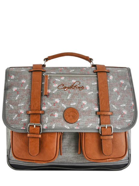 Satchel For Girls 3 Compartments Cameleon Gray vintage print girl VIG-CA41