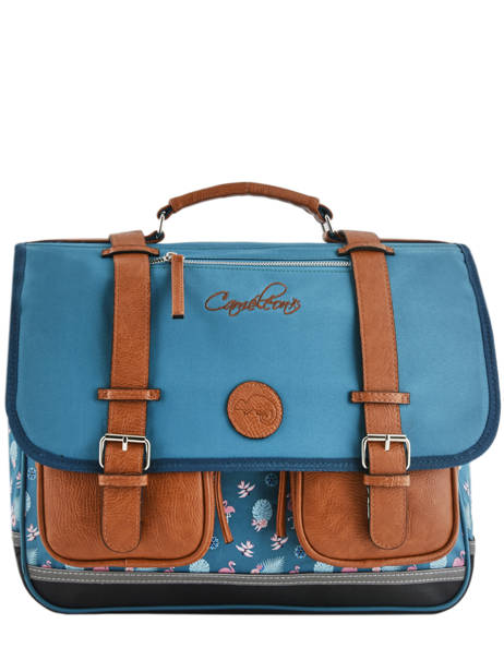 Satchel 3 Compartments Cameleon Blue vintage print girl VIG-CA41