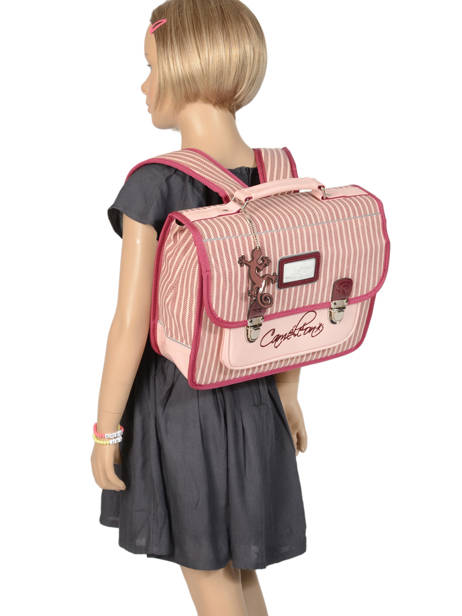 Cartable Enfant 1 Compartiment Cameleon Rose retro vinyl REV-CA32 vue secondaire 3