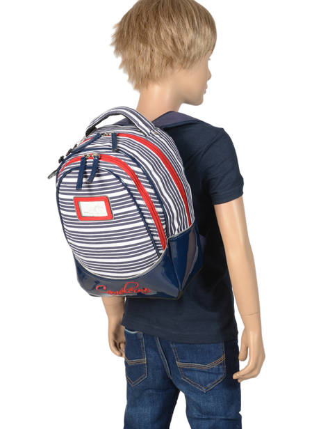 Backpack For Kids 2 Compartments Cameleon Blue retro vinyl REV-SD31 other view 3