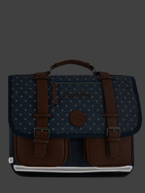 Satchel For Girl 2 Compartments Cameleon Blue vintage print girl VIG-CA38 other view 7