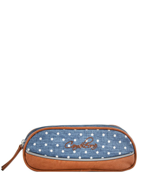 Pencil Case For Girls 2 Compartments Cameleon Blue vintage print girl VIG-TROU