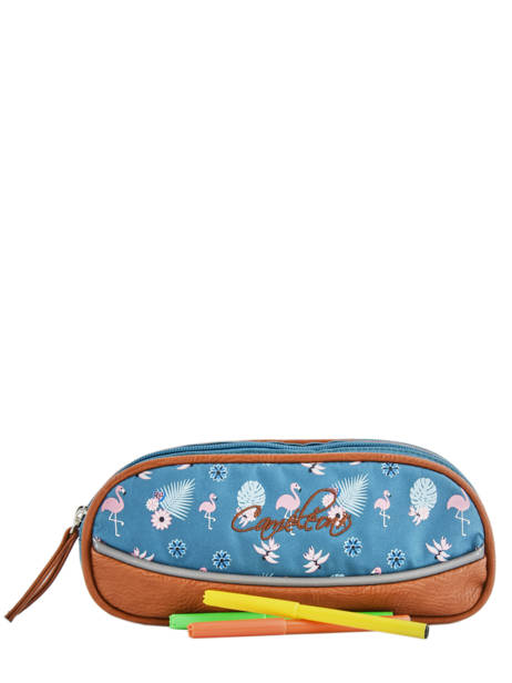 Pencil Case For Girls 2 Compartments Cameleon Blue vintage print girl VIG-TROU other view 1