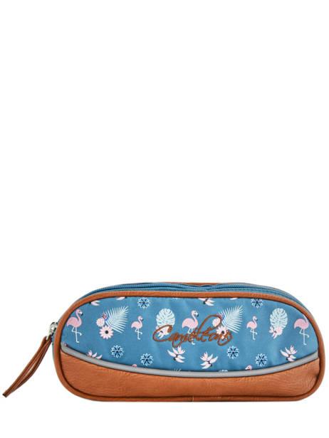 Pencil Case For Girls 2 Compartments Cameleon Blue vintage print girl VIG-TROU