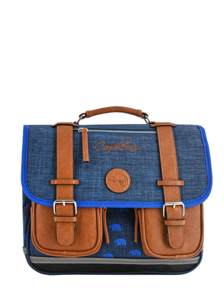 Satchel For Boys 2 Compartments Cameleon Blue vintage print boy VIB-CA35