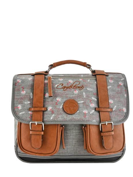 Satchel For Girls 2 Compartments Cameleon Gray vintage print girl VIG-CA35