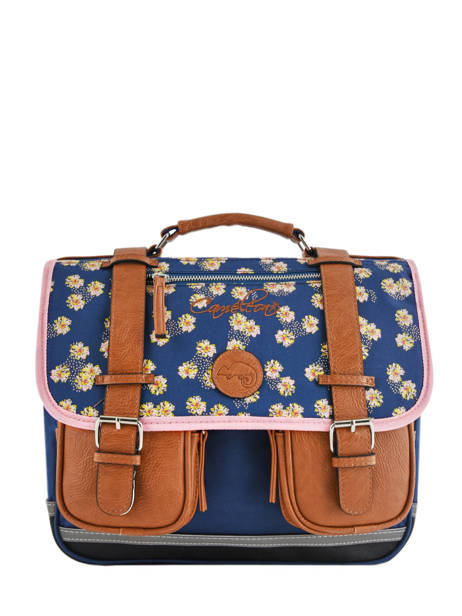 Satchel 2 Compartments Cameleon Blue vintage print girl VIG-CA35