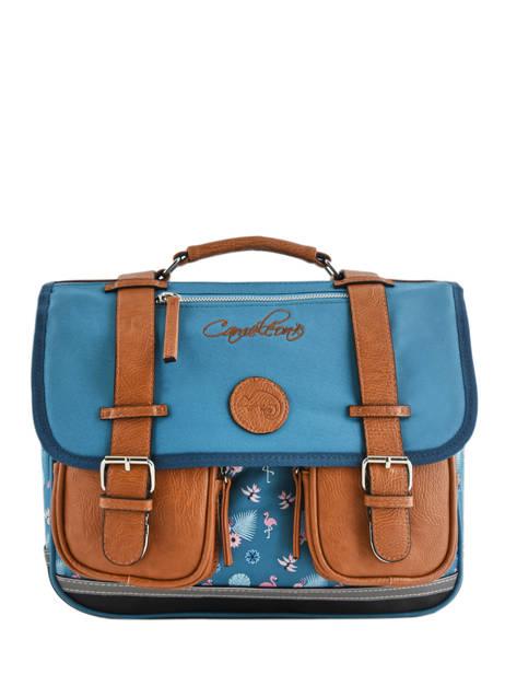 Cartable Enfant 2 Compartiments Cameleon Bleu vintage fantasy CA35
