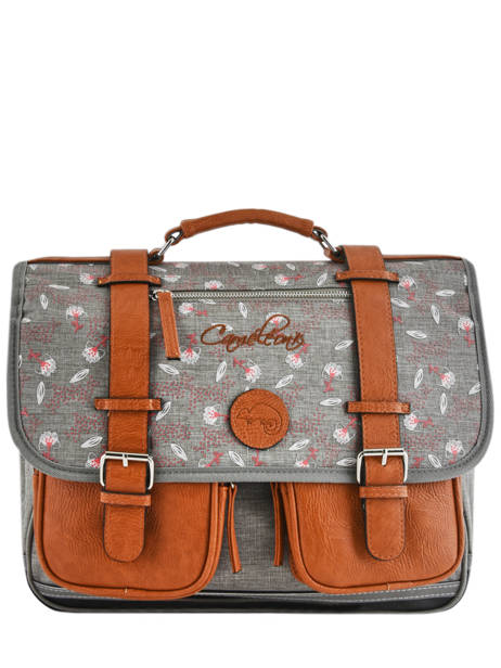 Satchel 2 Compartments Cameleon Gray vintage print girl VIG-CA38